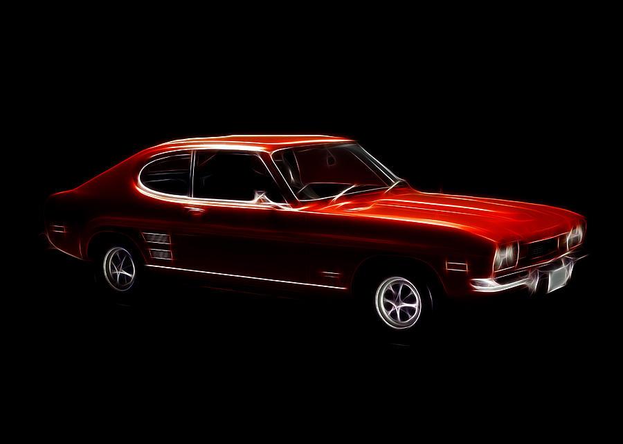 Red Ford Capri Digital Art by Steve K