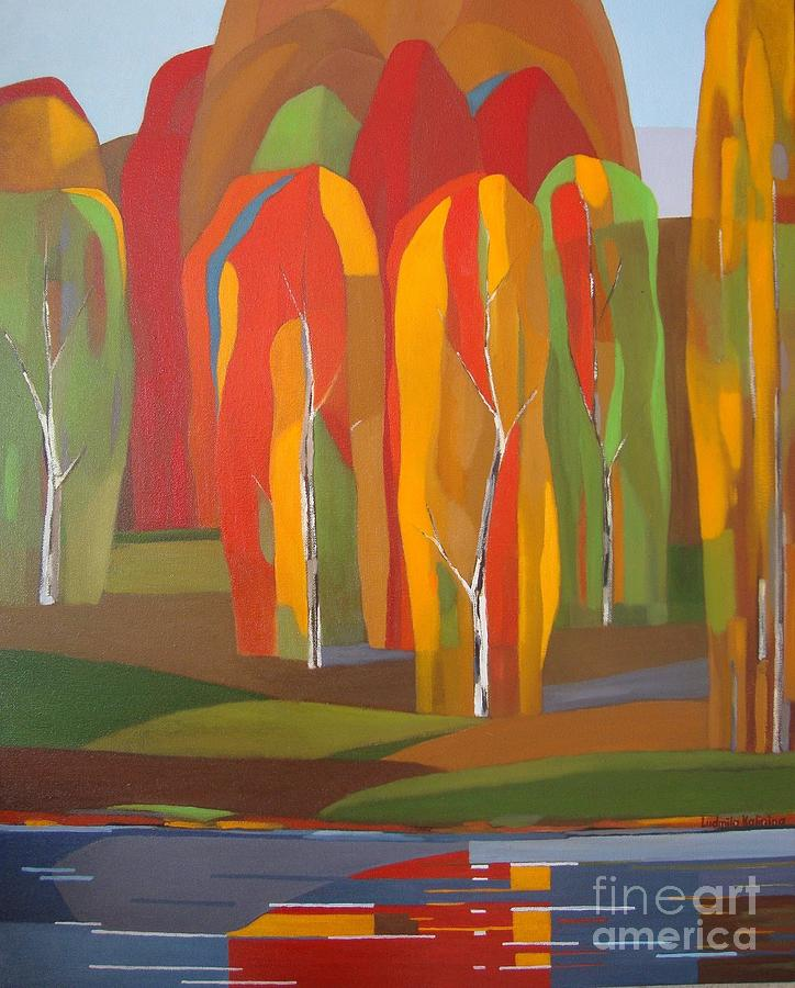 Landscape Painting - Red Forest by Ludmila Kalinina