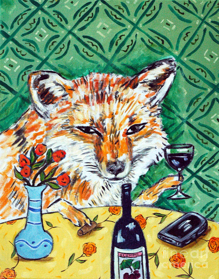 Red Painting - Red Fox At The Wine Bar by Jay  Schmetz