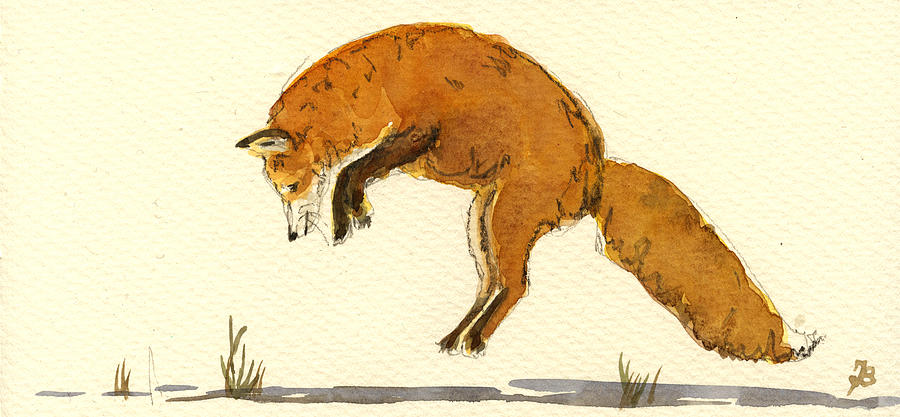Red Painting - Red Fox Jumping by Juan  Bosco