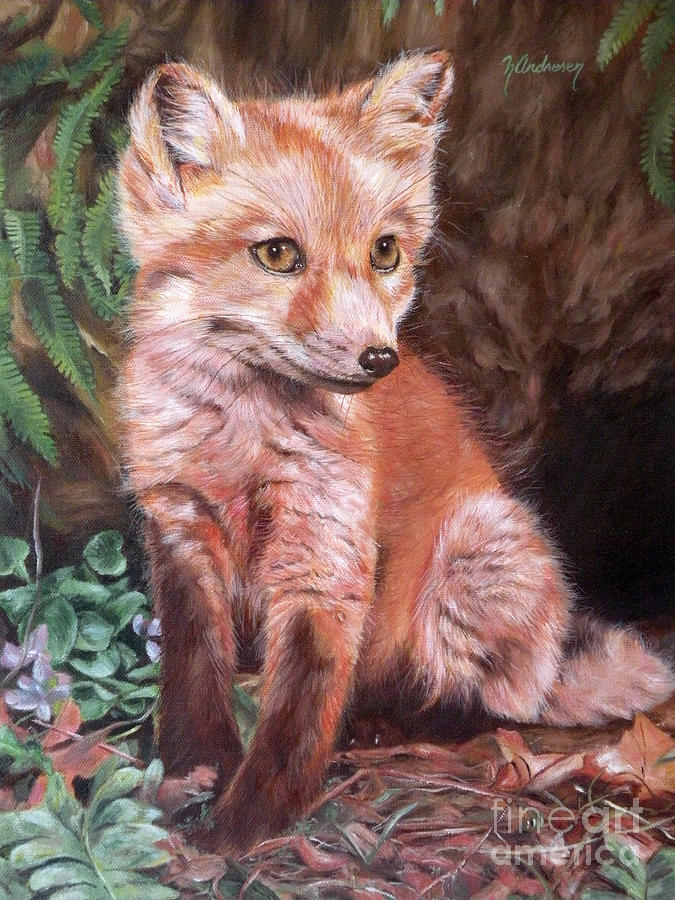 Landscape Painting - Red Fox Kit by Nancy Andresen