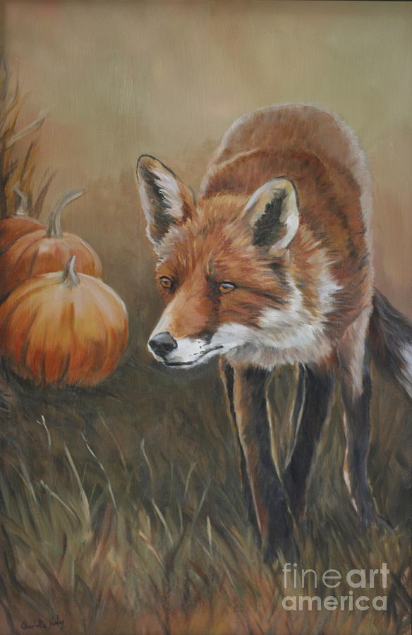 Red Fox Painting - Red Fox With Pumpkins by Charlotte Yealey