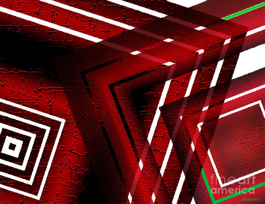 Red Digital Art - Red Geometric Design by Mario Perez