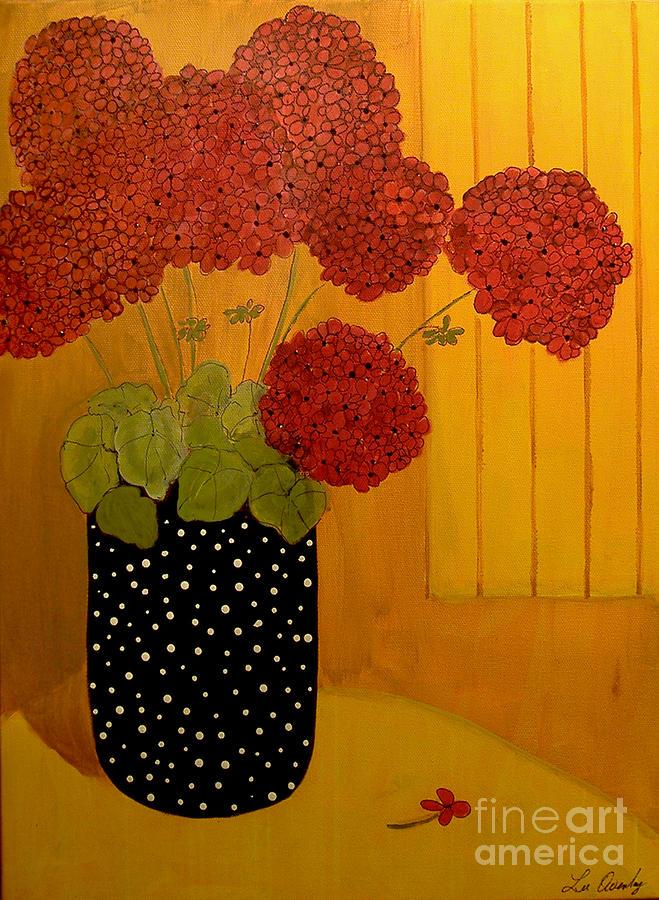 Red Geranium On Black by Lee Owenby