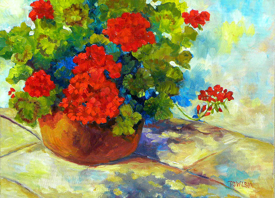 Geraniums Painting - Red Geraniums I by Peggy Wilson