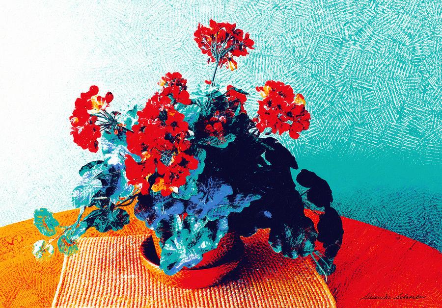 Red Geraniums Still Life by Susan Schroeder