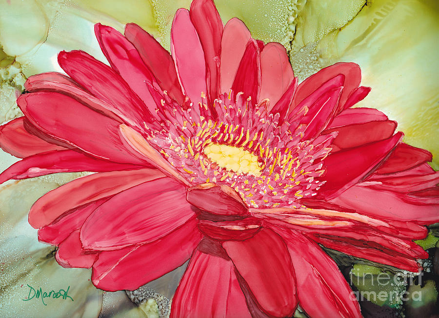 Red Painting - Red Gerbera Daisy by Diane Marcotte
