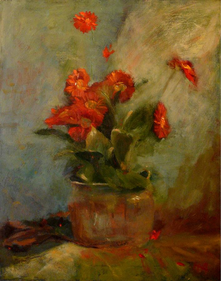 Red Painting - sold Red Gerberas by Irena  Jablonski
