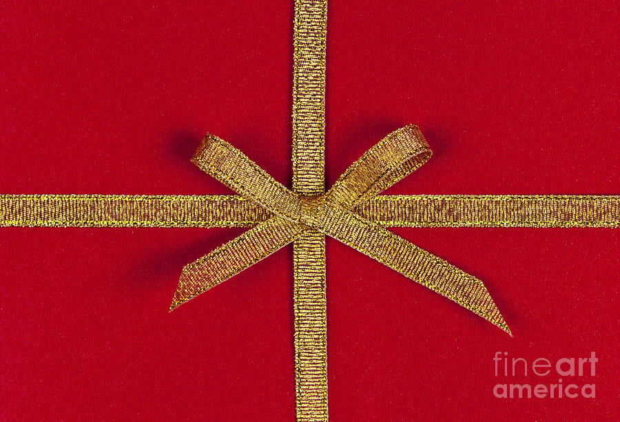 Gift Photograph - Red Gift With Gold Ribbon by Elena Elisseeva