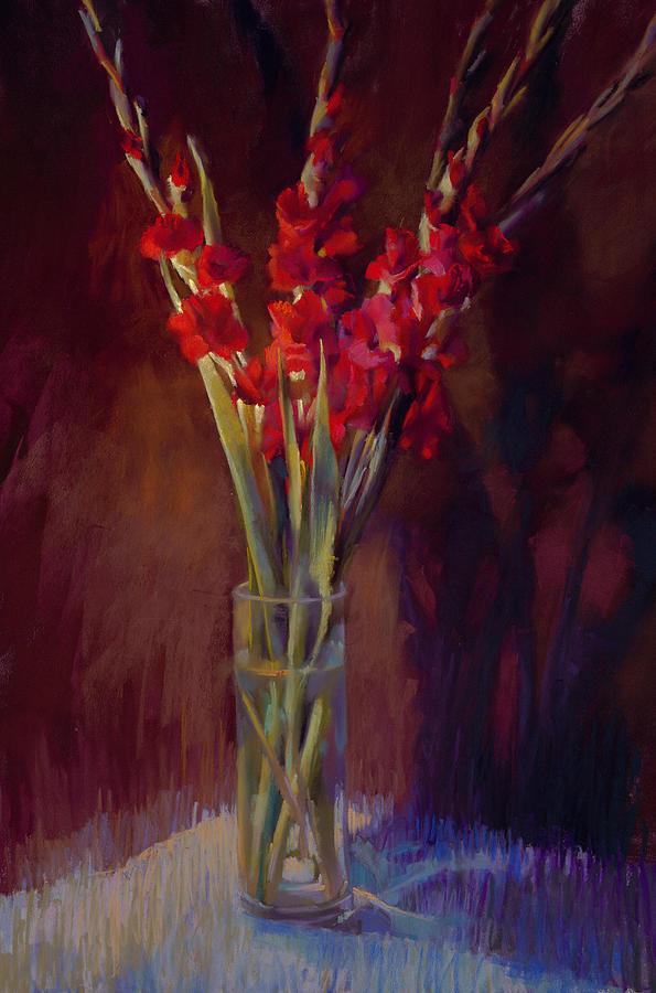 Floral Painting - Red Gladiolus  by Cathy Locke
