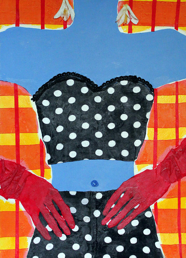 Portrait Mixed Media - Red Gloves by Diane Fine