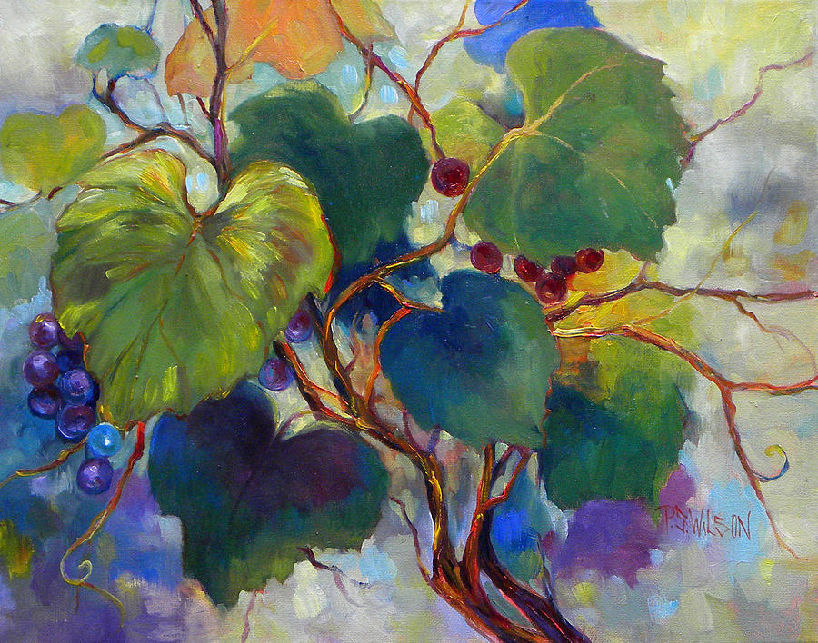 Grapes Painting - Red Grape Vines by Peggy Wilson