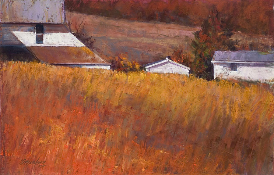 Farm Pastel - Red Grass by Beverly Amundson