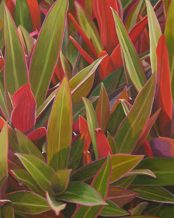 Plants Painting - Red Green And Purple by Thu Nguyen