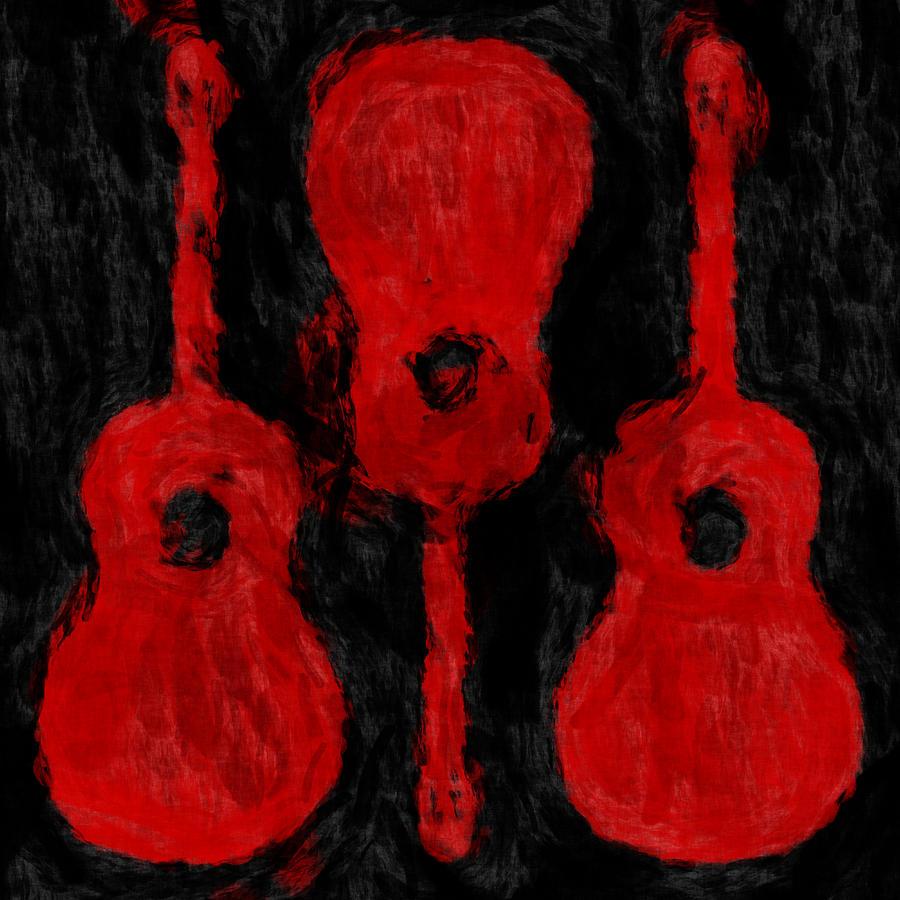 Guitar Digital Art - Red Guitars by David G Paul