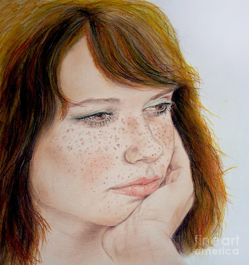 Red Hair Drawing - Red Hair And Freckled IIi by Jim Fitzpatrick