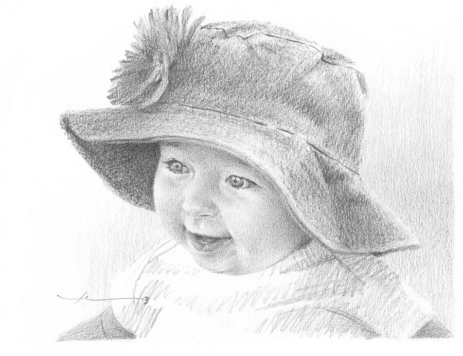 Red Hat Baby Pencil Portrait Drawing by Mike Theuer