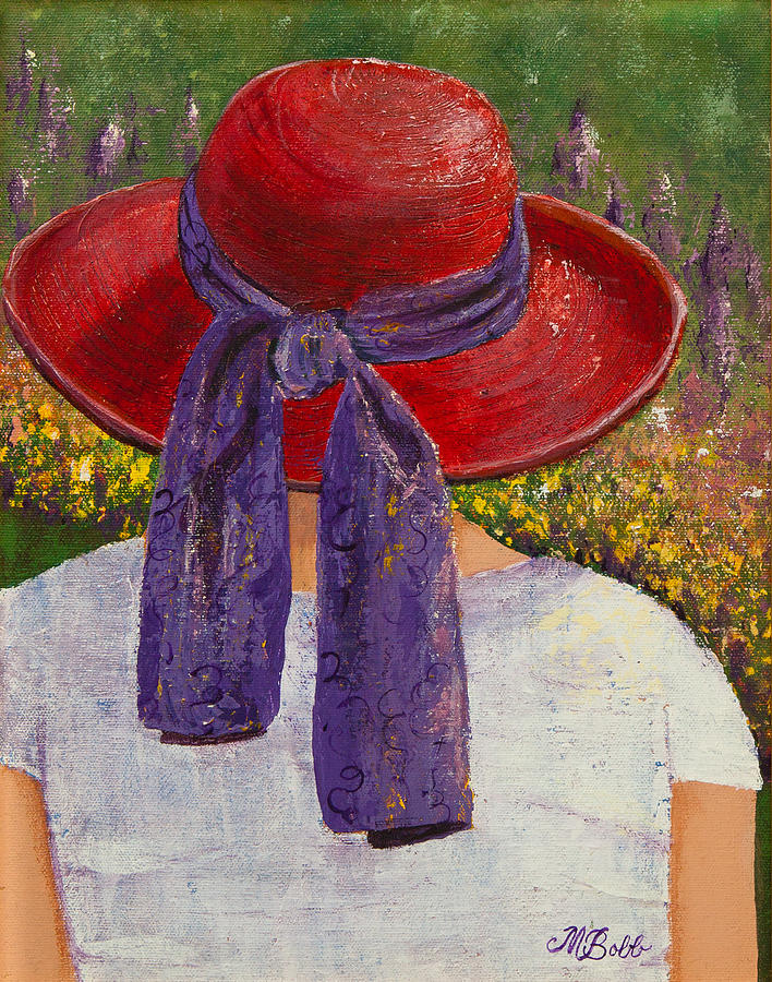 Red Hat Society Painting - Red Hat Garden by Margaret Bobb