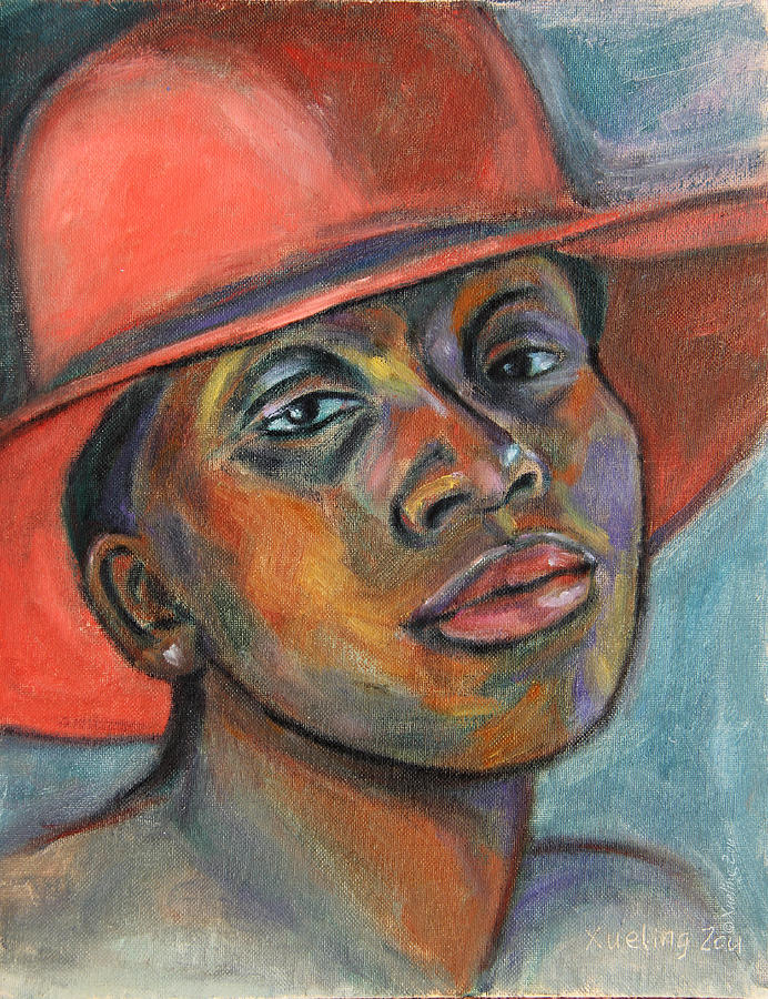 African American Painting - Red Hat Lady by Xueling Zou
