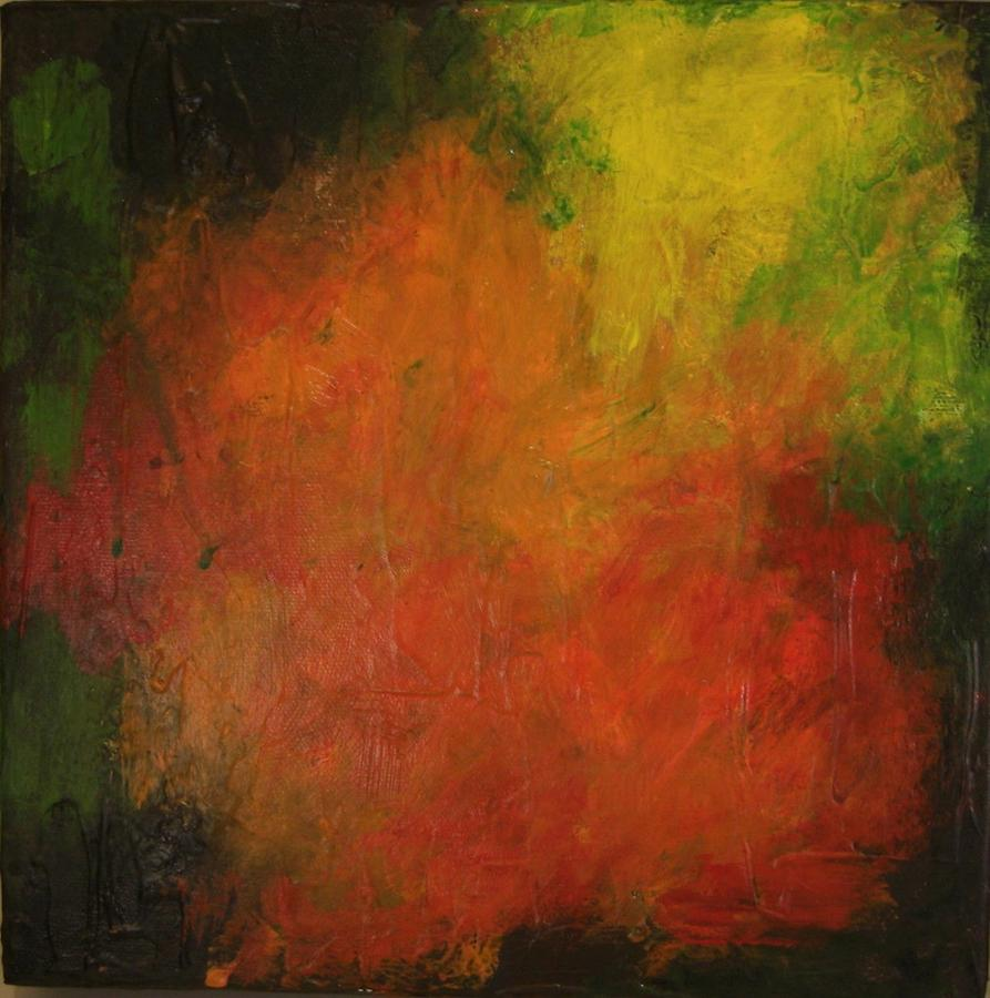 Square Painting - Red Haze by Jim Ellis
