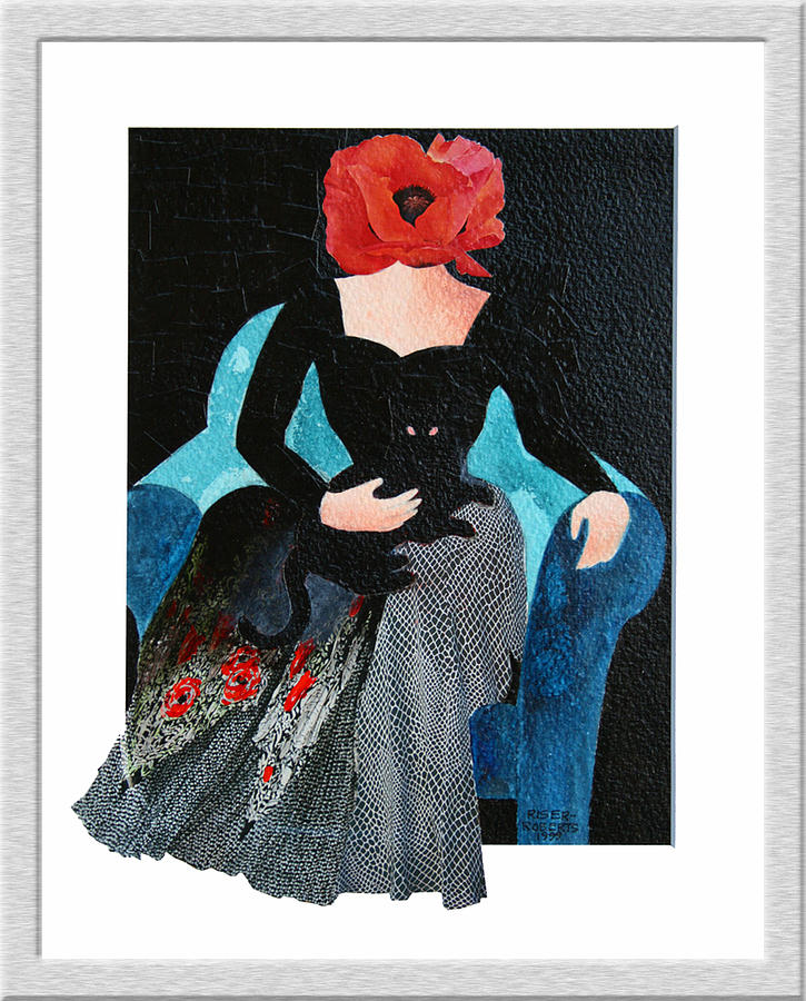 Red Head With Black Cat Painting by Eve Riser Roberts