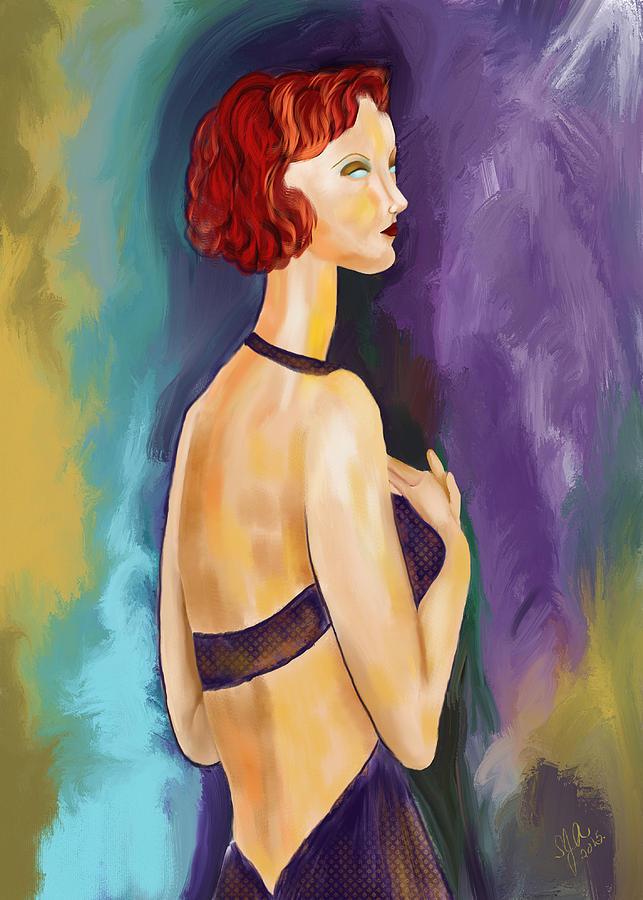 Woman Digital Art - Red Headed Woman by Sydne Archambault