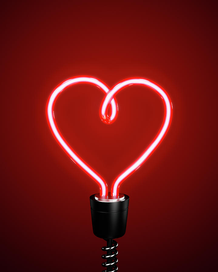 Red Heart Shaped Energy Saving Lightbulb Photograph by Atomic Imagery