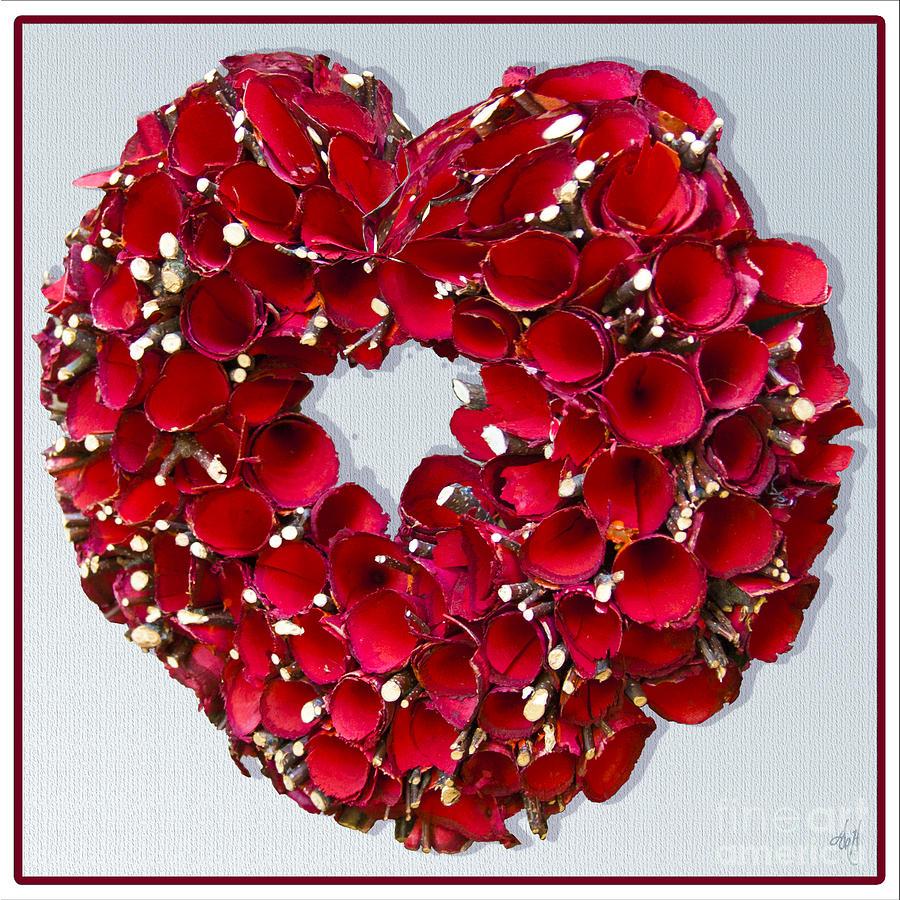 Heart Photograph - Red Heart Wreath by Victoria Harrington