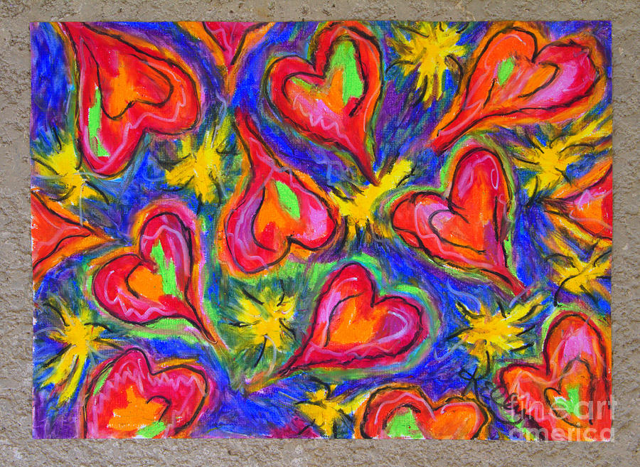 Colorful Hearts Pastel - Red Hearts by Kelly Athena