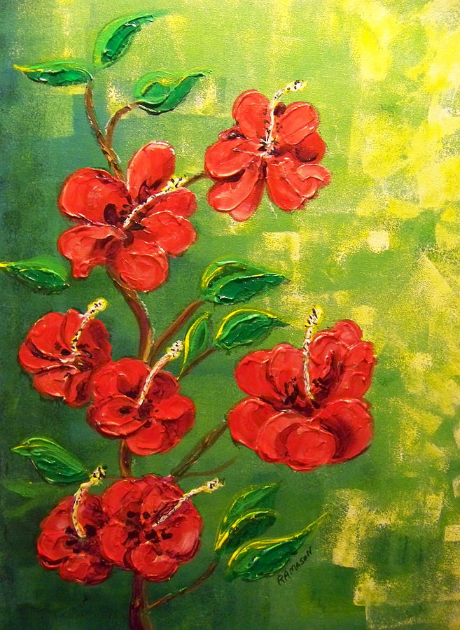Red Hibiscus 2 Painting by Rich Mason