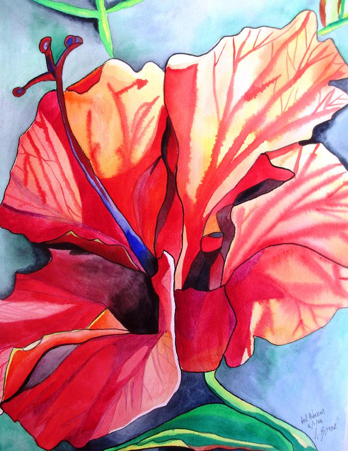 Hibiscus Painting - Red Hibiscus Tropical Flower by Sacha Grossel