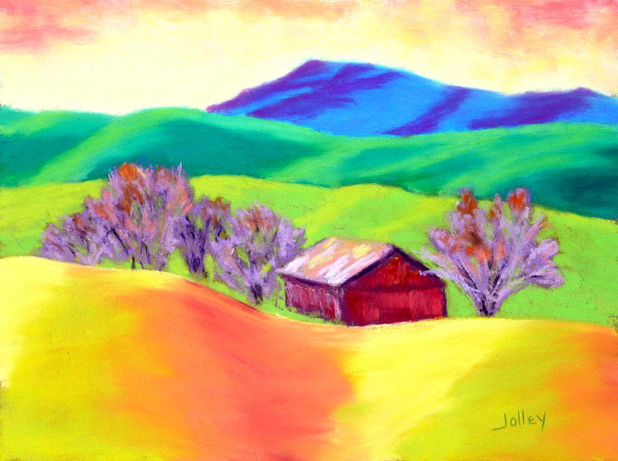 Landscape Painting - Red Hill Barn by Nancy Jolley