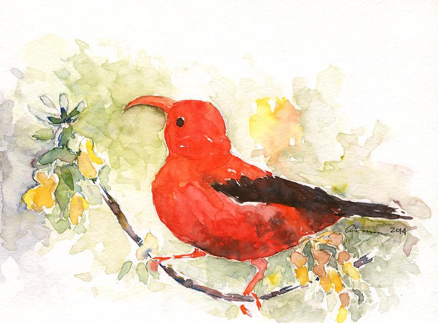 Bird Painting - Iiwi - Hawaiian Red Honeycreeper by Claudia Hafner