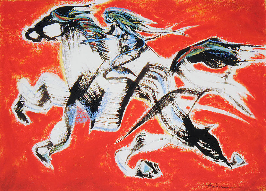 Abstract Painting Painting - Red Horse And Rider by Asha Carolyn Young