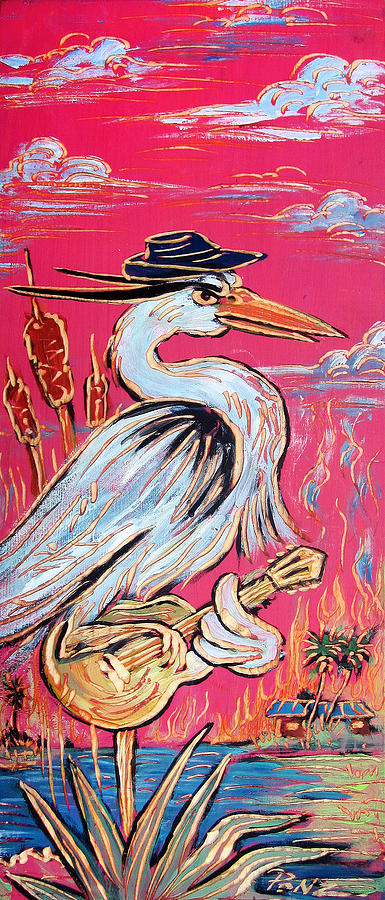 Blues Painting - Red Hot Heron Blues by Robert Ponzio
