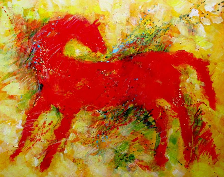 Red Hot Horse Look Back Painting