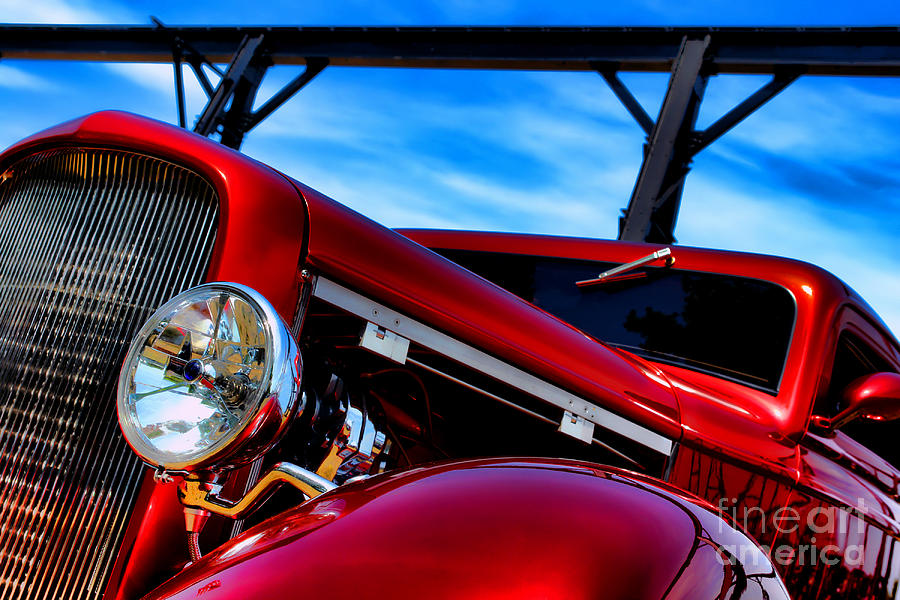 Hotrod Photograph - Red Hot Rod by Olivier Le Queinec
