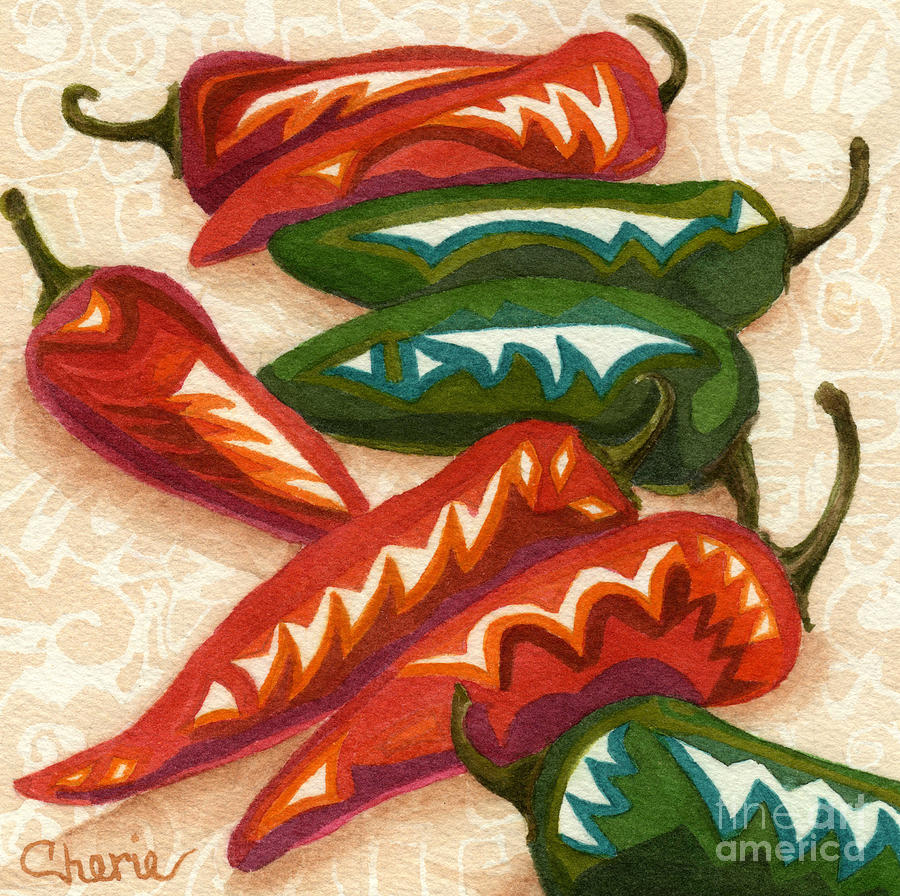 Chile Peppers Painting - Red Hot Too by Vikki Wicks