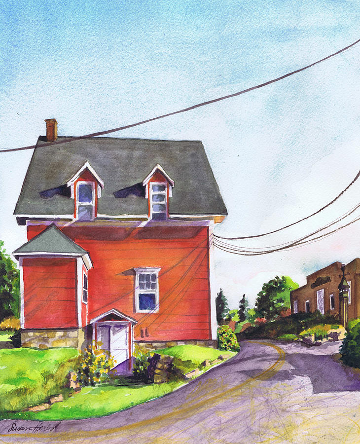 House Painting - Red House Bass Harbor by Susan Herbst