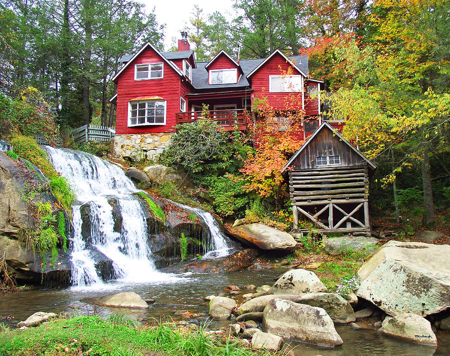 Red House By The Waterfall Photograph By Duane Mccullough