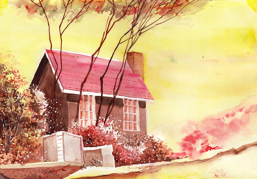 Nature Painting - Red House R by Anil Nene