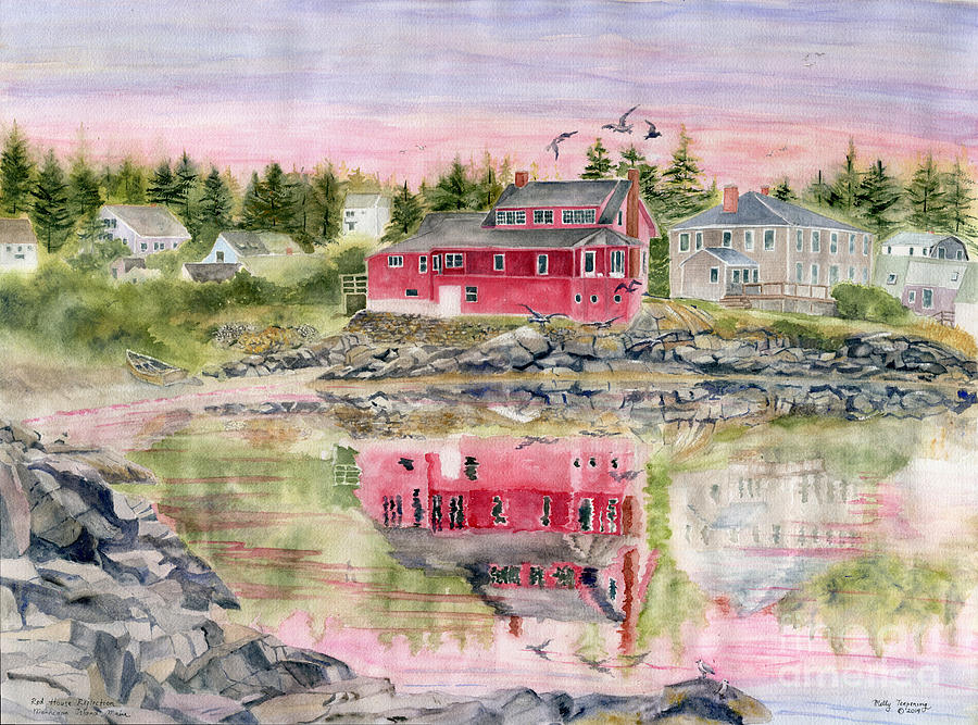 Red House Reflection Painting - Red House Reflection by Melly Terpening