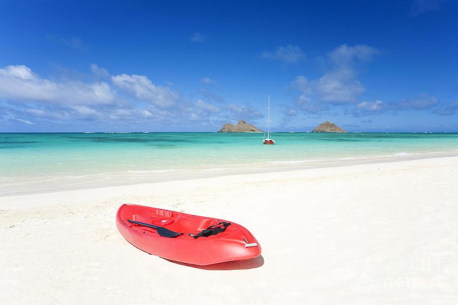 Beach Photograph - Red Kayak At Lanikai by M Swiet Productions