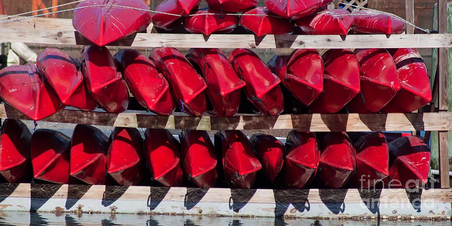 Color Photograph - Red Kayaks by Thomas Marchessault