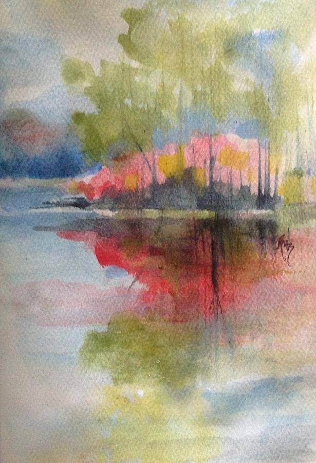 Island Painting - Red Lake Reflection #2 by Robin Miller-Bookhout