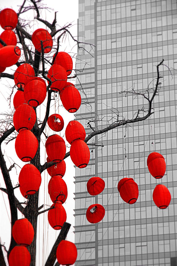 Red Lanterns And Modernity Photograph