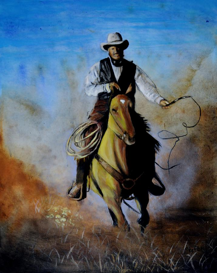 Cowboy Painting - Red Leg by Stefon Marc Brown