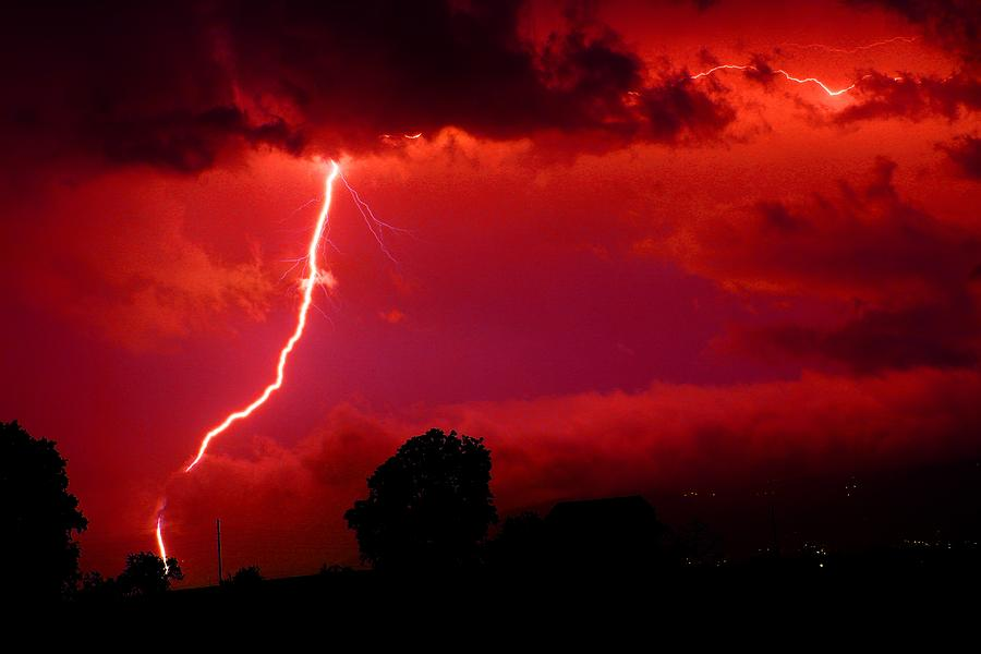 Red Lightning Photograph By Fl Collection