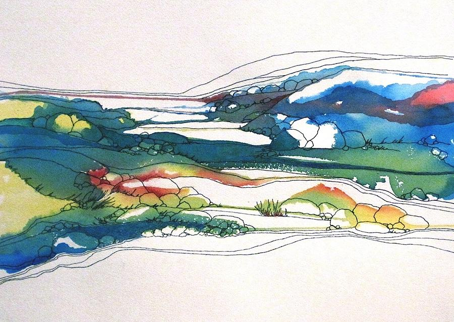 Landscape Painting - Red Line Flow by Renee Goularte