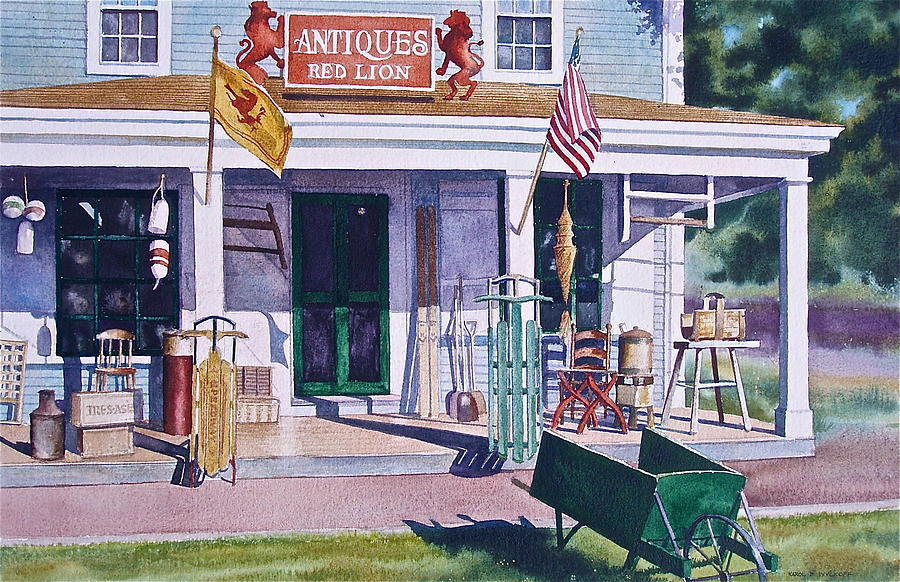 Antiques Painting - Red Lion Antiques by Karol Wyckoff